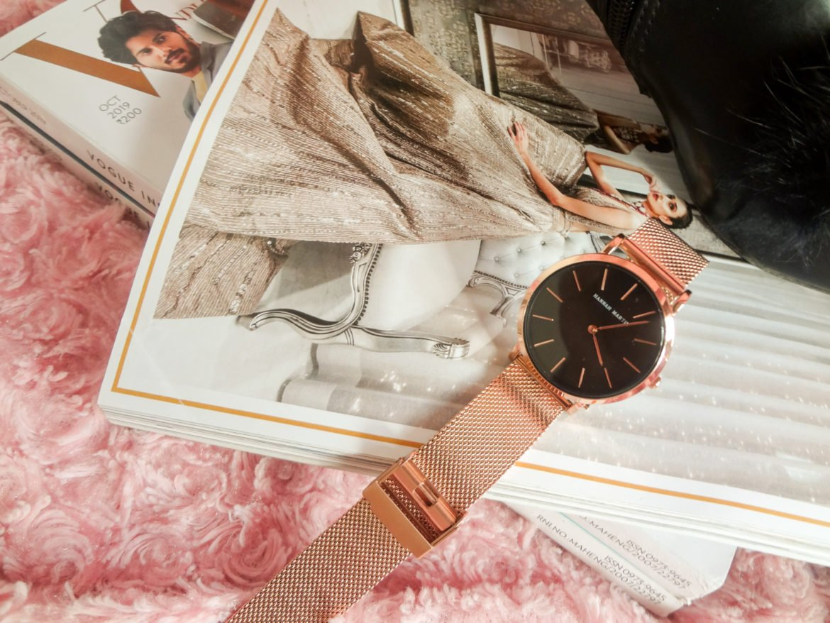 A rose gold watch