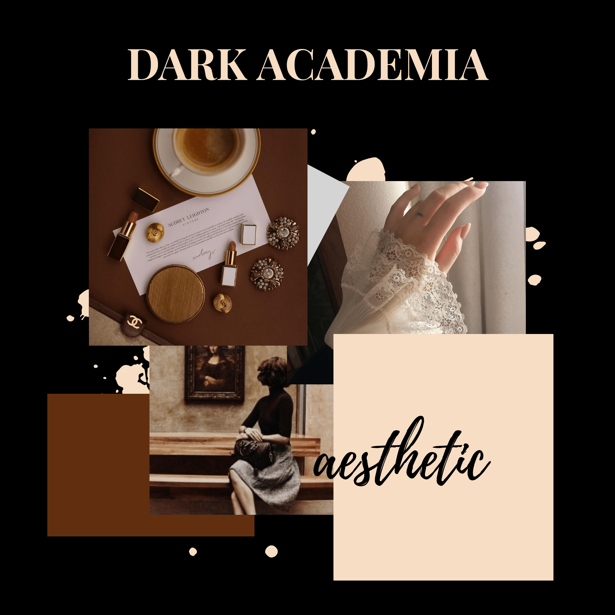Anaesthetic mood board for dark academia fashion aesthetic; a TikTok subculture.