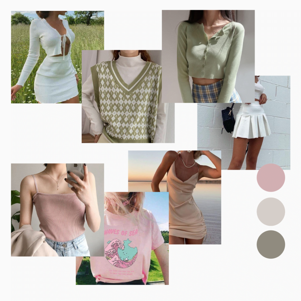 a pastel color fashion mood board with pastel and neutral outfits and clothing pieces necessary for soft girl aesthetic.