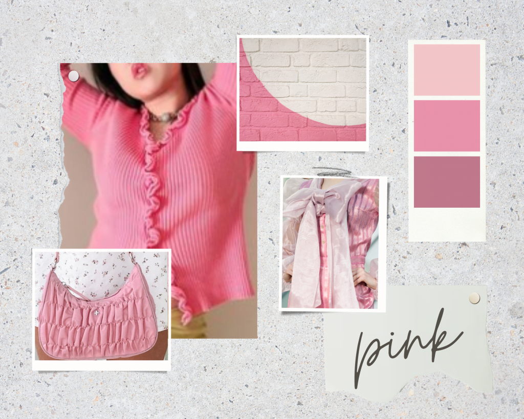 a bubblegum pink aesthetic mood board as a styling trend for hot girl summer outfits 2021 trendy colour